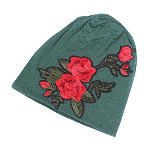 Goddessvan Women Embroidery Cancer Chemo Hat Beanie Scarf Turban Head Wrap Cap (Green) (Beanie Visor Case)