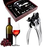 Wine Opener Set Bottle Opener Kit Tools with Wine Stopper Pourer Foil Cutter 9 Piece in Mahogany Box [ US STOCK ] (9in1)