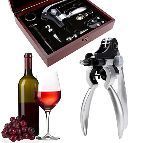 Wine Opener Set Bottle Opener Kit Tools with Wine Stopper Pourer Foil Cutter 9 Piece in Mahogany Box [ US STOCK ] (9in1) by Tomasar (Image #7)