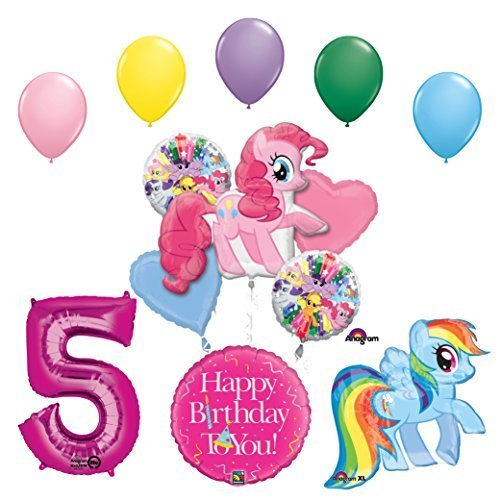 My Little Pony Pinkie Pie and Rainbow Dash 5th Birthday Party Supplies and Balloon -