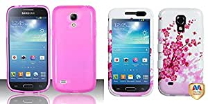 Combo pack For Samsung Galaxy S4 Mini i9190 / i9192 / i9195 - TPU Candy Cover - Hot Pink TPU And MYBAT Spring Flowers/Solid White TUFF Hybrid Phone Protector Cover for SAMSUNG Galaxy S4 mini