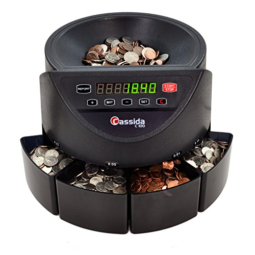 Cassida C100 Electronic Coin Sorter/Counter, Countable coins 1¢, 5¢, 10¢, 25¢, 250 coins/min, 110 VAC by Cassida
