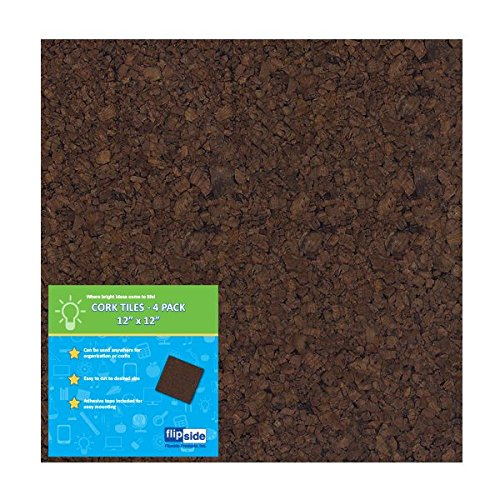"Frameless Dark Brown Cork Squares, 12"" x 12"" 0.5"", Pack of 16  Squares"