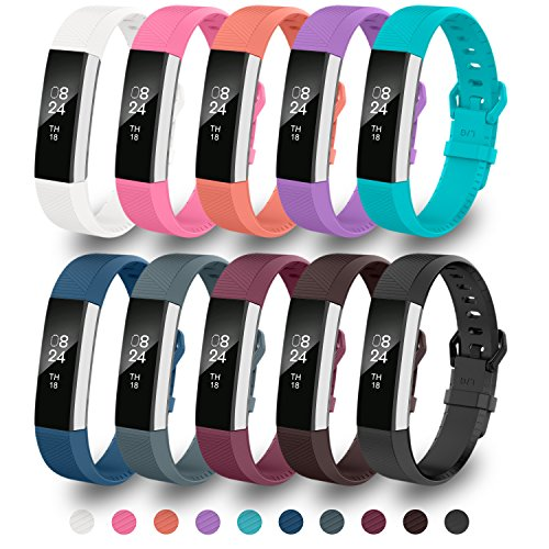 GreenInsync Bands for Fitbit Alta HR, Fitbit Alta Replacement Band Large Accessory Watch Buckle Wristband for Fitbit Alta/Fitbit Alta HR Strap Bracelets W/Same Color Metal Clasp and Fastener(10Pack)