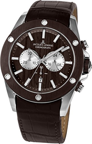 Jacques Lemans Men's Sport Liverpool 46mm Brown Leather Band Steel Case Quartz Analog Watch 1-1812A