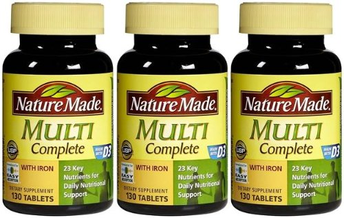 Nature Made Multi Complete with Iron (130 Tablets) Each Bottle (Qty, Of 3 Bottles) NEW/SEALED