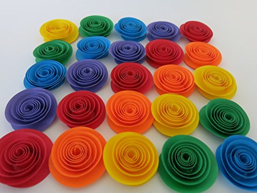 Rainbow Paper Flower Set of 24, Wedding Table Centerpiece, Child Birthday Party Decorations, Bridal Shower Floral Decor, Circus Theme Art 1.5