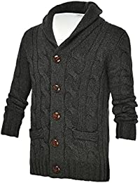 "<span class=""a-offscreen"">[Sponsored]</span>Men's Shawl Collar Cardigan Sweater Button Front Solid Knitwear (XL, Dark Grey)"