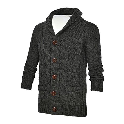 VOBOOM Men's Shawl Collar Cardigan Sweater Button Front Solid Knitwear (L, 002-Dark Grey) Shawl Collar Button Front
