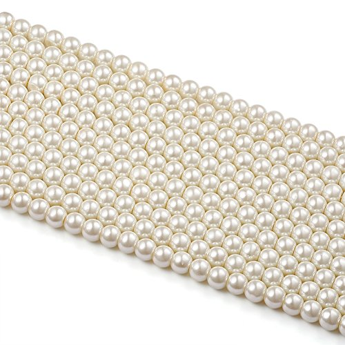 Beadthoven 8mm Glass Pearl Beads Strands IvoryWhite Color Pearlized Round Beads for Making Jewelry Necklaces Bracelets Earri for Making Jewelry Necklaces Bracelets Earrings about 110pcs/strand 32