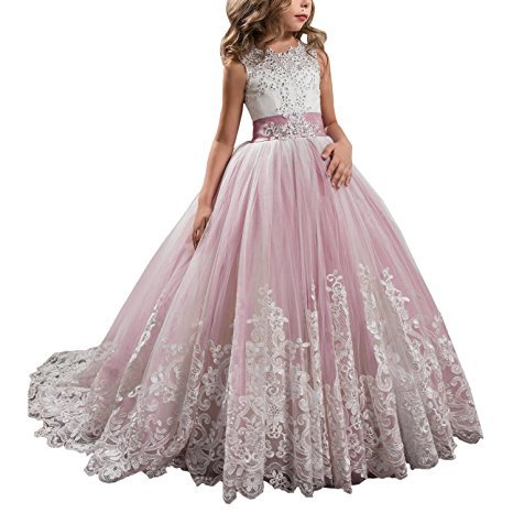 Princess Blush Pink Long Girls Pageant Dresses Kids Prom Puffy Tulle Ball Gown US -