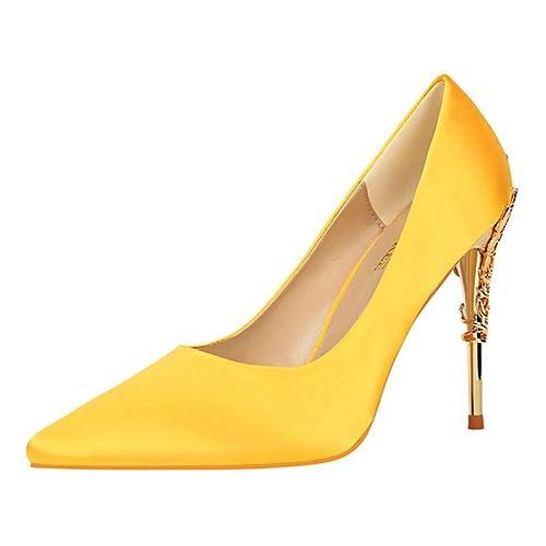 061ba59cc84b1 Damas tacón Medio Corte Zapatos Elegante Metal Tallado Tacones de Seda  sólida Punta Puntera Bombas Poco Profundas Boda Sexy Tacones Altos para Las  Mujeres  ...