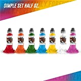 7 Bottle Simple Color Set - World Famous Tattoo Ink - 1/2oz.