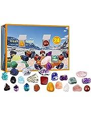 Healing Crystal Advent Calendar 2021-24 Days Christmas Countdown Calendar Ore Blind Box,Christmas Mineral Gift Box Christmas Countdown Calendar for Kids Xmas Gifts Party Favor
