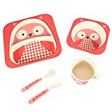 5Pcs Bamboo Baby Learning Tableware Set Fiber Baby Plate Bowl Cup Forks Spoon Food Safe Children Feeding Tableware (Owl)