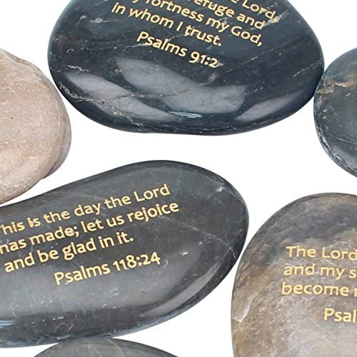 Decorative 6 Piece Set Natural Religious Gift Ideas for Friends and Family Stonebriar Inspirational Psalm Stones