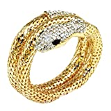 FEDULK Womens Multilayer Bracelet Punk Hip Pop Rhinestone Curved Stretch Snake Cuff Bangle Jewelry(Gold)