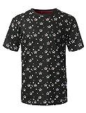 URBANCREWS Mens Hipster Hip Hop Flag Star Printed Knit T-Shirt Black Medium