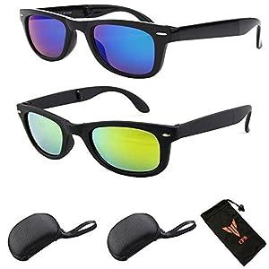 (#JHFM1028) Get 1 Pair Folding Fold Retro Men & Women Metal Frame Sunglasses + Includes FREE Hard Case & Pouch