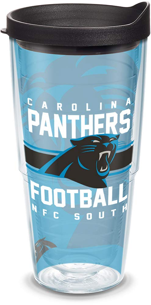 Tervis 1180532 NFL Carolina Panthers Gridiron Tumbler with Wrap and Black Lid 24oz, Clear by Tervis