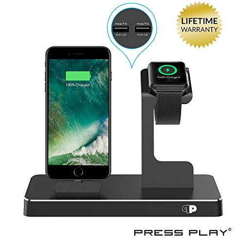 ONE Dock Power Station Dock, Stand & Charger for Apple Watch Smart Watch, iPhone, iPad and iPod-Black (Ipod Charger Dock)