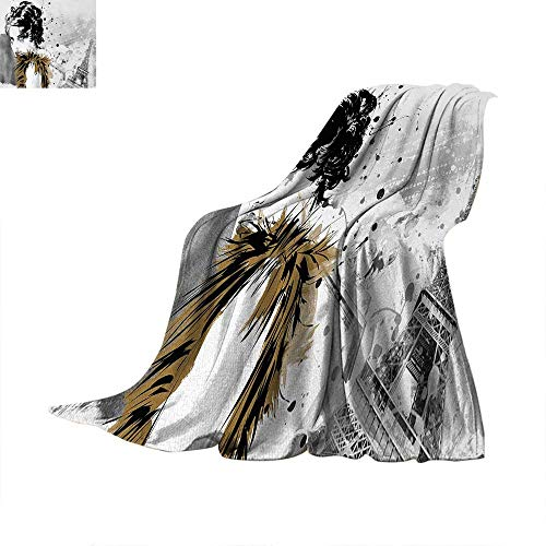 Modern Lightweight Blanket Posing Fashion Model Girl with Feathers and Dots Paris Eiffel Contemporary Artful Digital Printing Blanket 60