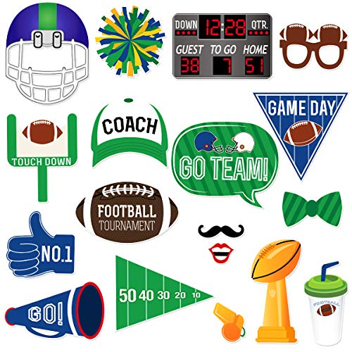 LUOEM 18PCS Super Bowl Photo Booth Props Football