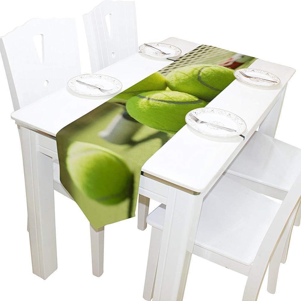 GABRI 13X90inch Tenis de Mesa Camino de Mesa Mantel de poliéster Mantel Individual para Cocina de Oficina Comedor Banquete de Boda