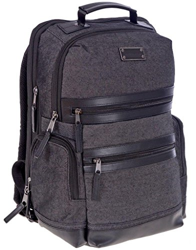 Renwick Treated Canvas & Leather Business Backpack with RFID protection (Black)