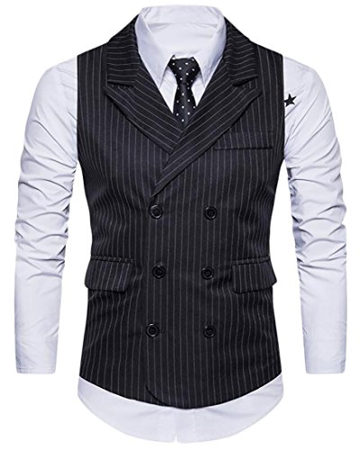 Alion Men Business Plus Size Double Breasted Stripes Suit Vest for cheap