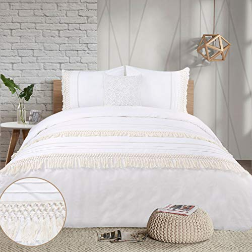 YINFUNG Boho Duvet Cover Queen Ivory Tassel Macrame Crochet Boho Chic 90 x 90 Quilt Cover Fringe Cream Off White 3PC Bedding Set Lace Trim Cute Pretty Country Romantic Modern Cotton 100%
