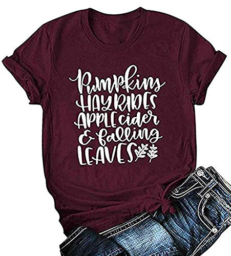 Pumpkins Hayrides Apple Cider and Falling Leaves T-Shirt Women's Fall Short Sleeve Blouse Tops Size L (Red)