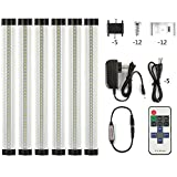 LXG-LED 12in Dimmable LED Under Cabinet Lighting, 18W 2700K-3000K Warm White 1600LM, Clear Cover Led Strips,11key Remote Control, 6 Pack