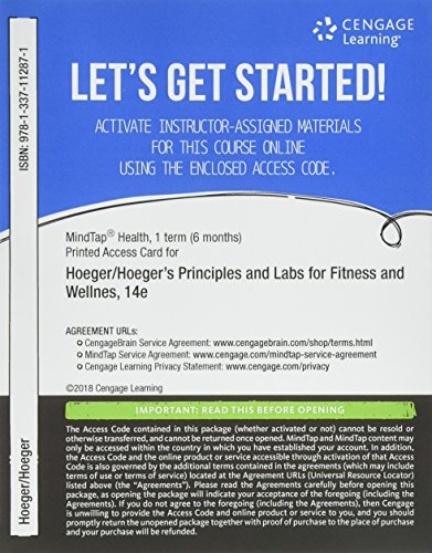 MindTap Health, 1 term (6 months) Printed Access Card for Hoeger/Hoeger/Fawson/Hoeger's Principles and Labs for Fitness and Wellness, 14th (MindTap Course List)