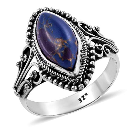 925 Sterling Silver Marquise Purple Turquoise Statement Ring for Women Oxidized Southwest Style Jewelry Size 10