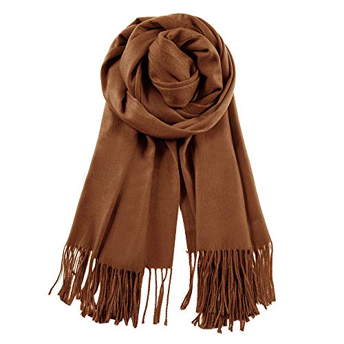 (QBSM Womens Large Soft Winter Wedding Evening Pashmina Shawls Wraps Scarfs Brown)