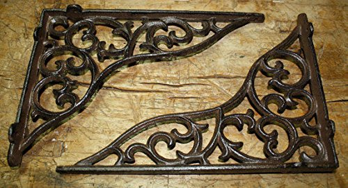 New 8 Cast Iron by YourLuckyDecor Antique Style HEAVY DUTY VINE Brackets Garden Braces Shelf Bracket