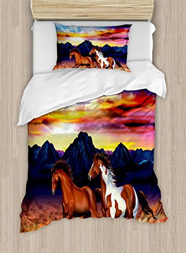Ambesonne Western Duvet Cover Set Twin Size, Running Wild Horses at Sunset Artistic Rustic Landscape Colorful Sky Illustration, Decorative 2 Piece Bedding Set with 1 Pillow Sham, Brown Blue