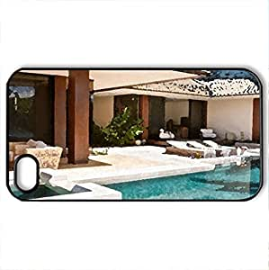 Tropical Modern Contemporary Villa with Swimming Pool in Hawaii - Case Cover for iPhone 4 and 4s (Modern Series, Watercolor style, Black)