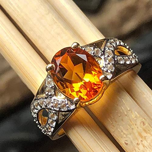 Natural 2ct Golden Citrine, White Topaz 14k Gold Over Solid Sterling Silver Engagement Ring sz 7, 8