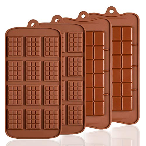 4 pcs Silicone Chocolate Molds, SENHAI 2 Types of Break Apart Non-Stick Candy Protein and Energy Bar Mold Baking Tray
