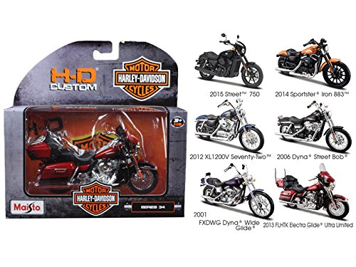 (Maisto 31360-34 1 by 18 Scale Diecast Harley Davidson Motorcycle Set Series 34 Models44; 6 Piece)