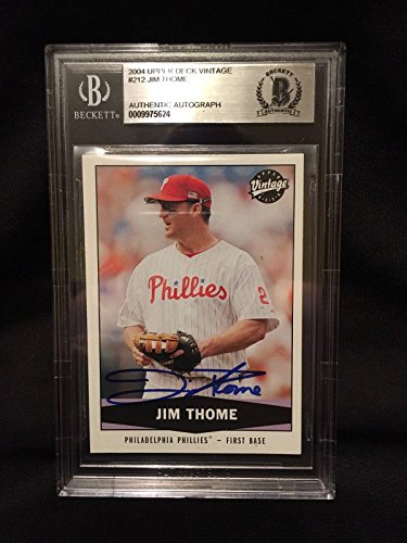Jim Thome Signed 2004 Vintage Baseball Card Beckett Auth - Upper Deck Certified - Baseball Slabbed Autographed Cards ()