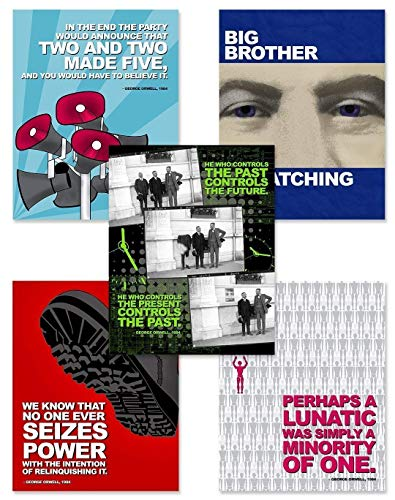 Nineteen Eighty Four, George Orwell Quote Poster Set of Five. Educational Classroom Print Set