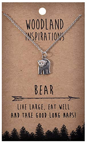 Shag Wear Woodland Nature Inspirations Quote Necklace (Bear Pendant)