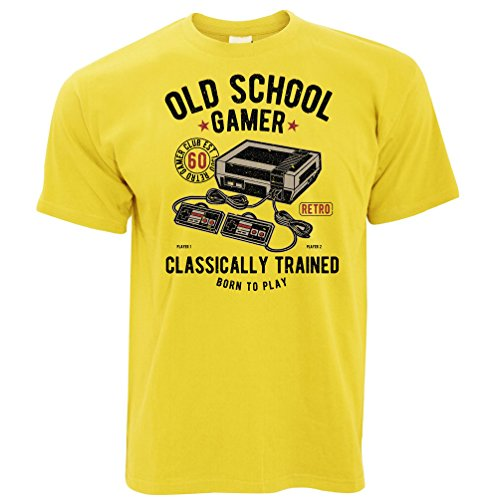 Tim And Ted Gaming T Shirt Old School Gamer Retro Videogame Arcade Yellow L