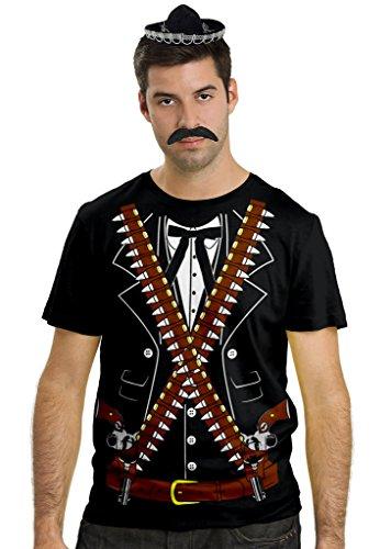 El Dia De Los Muertos Costumes (Viva Mexico Mens Mariachi Bandido Cowboy Costume Shirt Sombrero Hat & Mustache Bundle T-Shirt X-Large Black)