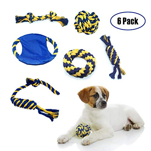 Adorkable Dog Rope Toys for Aggressive Chewers,Pets Puppy Rope Toys 100% Natural Cotton Rope 6 Pack by Adorkable Pet