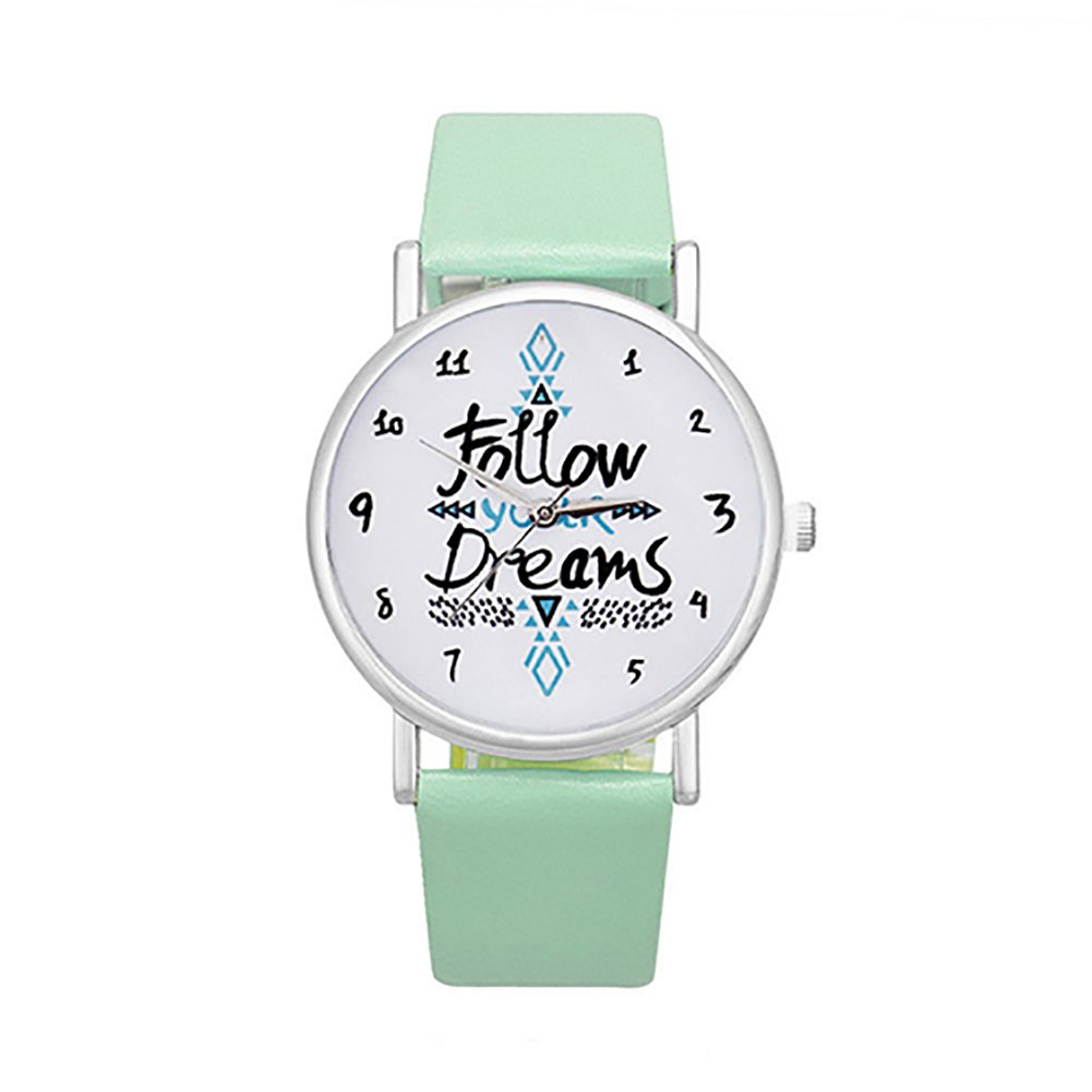 Colorido Girls Follow Your Dream Print Faux Leather Band Quartz Wrist Watch (Mint Green)