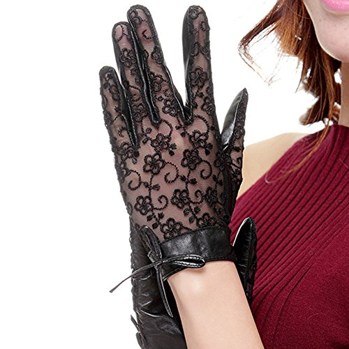 Nappaglo Women's Nappa Leather & Lace Unlined Gloves Bow Decoration Summer Short for Wedding Prom Banquet Party Driving (X-Large, Black) by Nappaglo